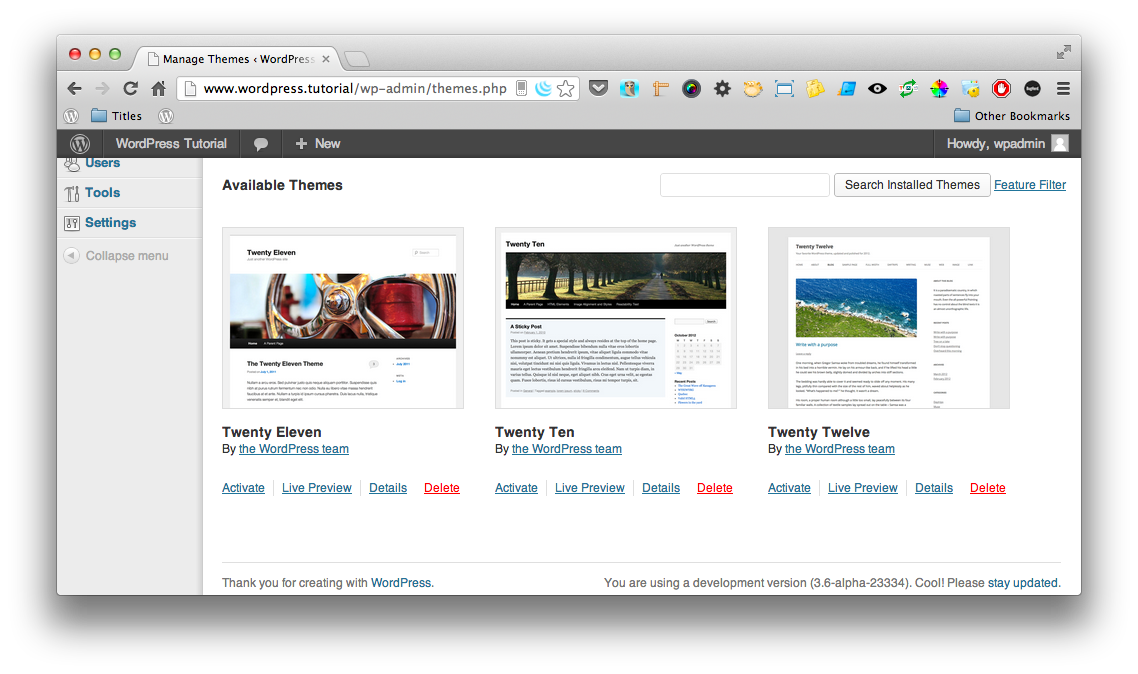 WordPress Quick Tips - Adding a WordPress Theme Screenshot 1